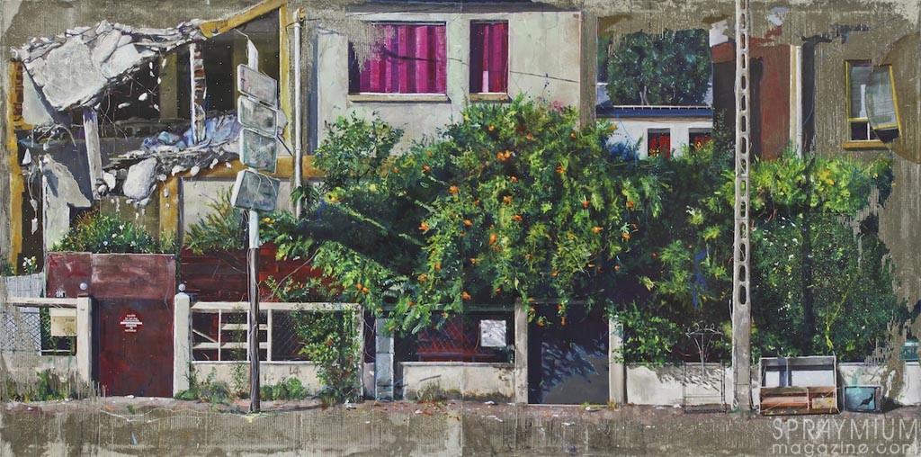 """""""Mur végétal"""" diptyque 100x200cm. Acrylique résine, et ciment sur toile"""