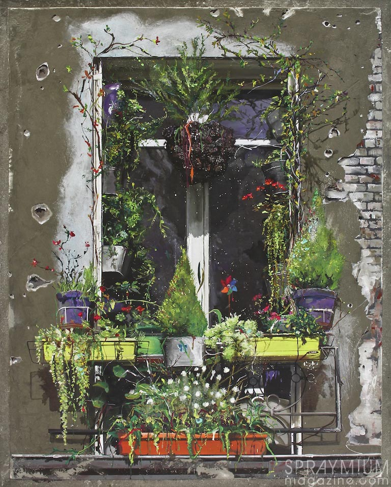 """""""Fenêtre sur cour"""" 100x80cm. Acrylique, résine et ciment sur toile"""